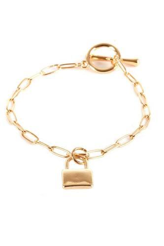 Metal Paper Clip Chain Lock Charm Bracelet