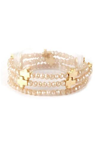 Glass Bead Metal Cross Multi Stretch Bracelet