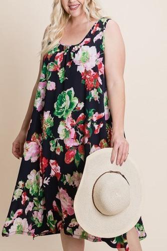 Plus Size Floral Bulgari Printed Tank Midi Dress With Asymmetrical Hem