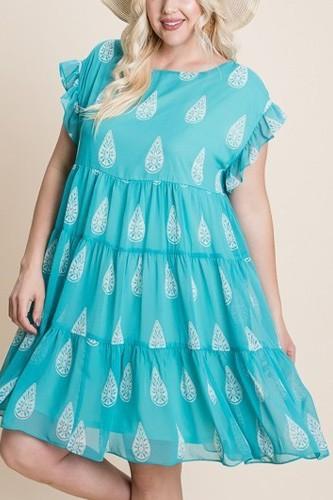 Plus Size Hi-multi Chiffon Printed Tiered Swing Dress