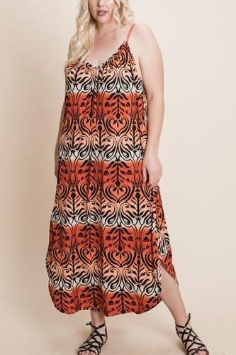 Plus Size Tie Dye Ombre Damask Print Anna Print Cami Maxi Dress