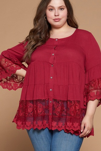 Solid Woven Button-down Blouse