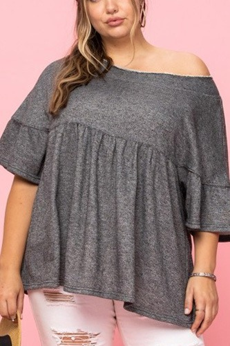 Solid French Pullover Terry Woven Top