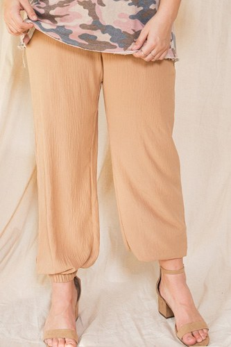 Solid Trousers Woven Elastic Waistband Pants With Drawstrings Details