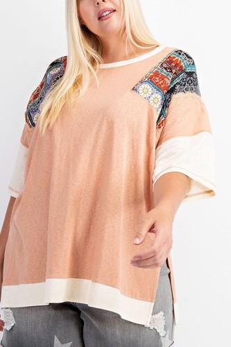 Fun & Colorful Short Sleeves Cotton Slub Knit Color Block Top