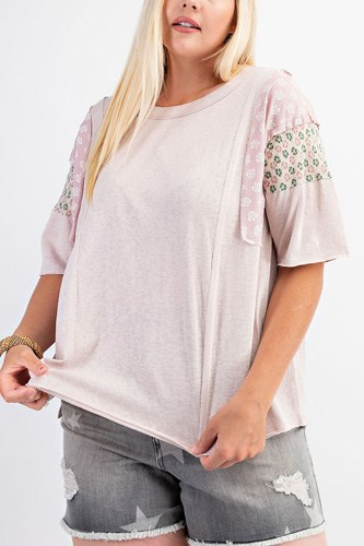 Short Sleeves Mix Prints Cotton Slub Loose Fit Top