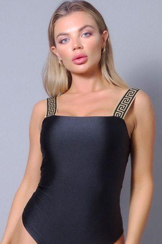 Sexy Geo Elastic Trim Square Neck Bodysuit