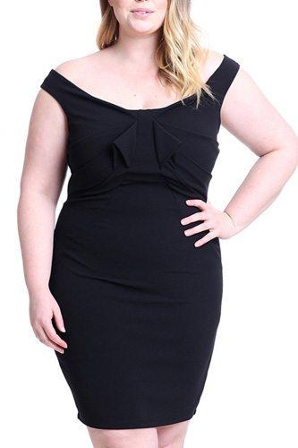 Techno Crepe Off The Shoulder Plus Size Mini Dress