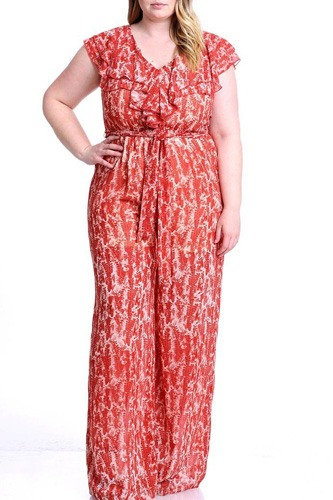 Abstract Print Ruffle Detail Jumpsuit