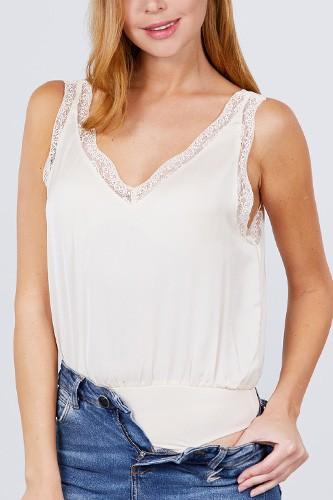 Lace Detail V-neck Woven Bodysuit