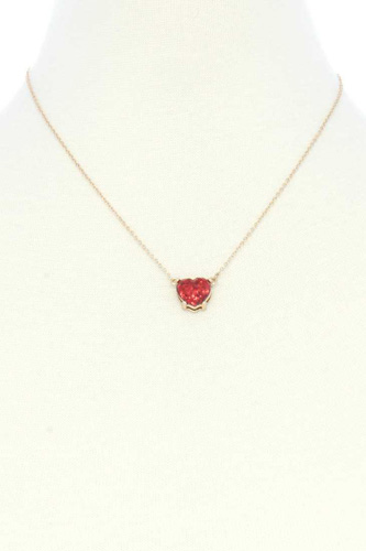 Glitter Heart Charm Necklace