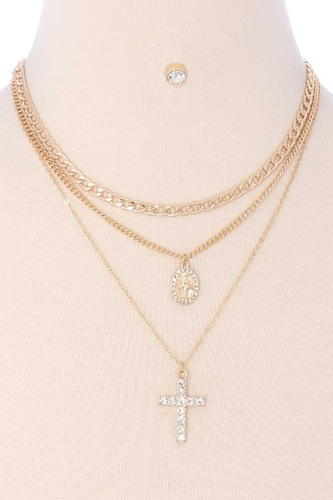 3 Layered Metal Chain Rhinestone Cross Pendant Necklace Earring Set