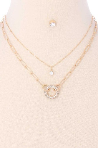2 Layered Metal Chain Rhinestone Round Pendant Necklace Earring Set