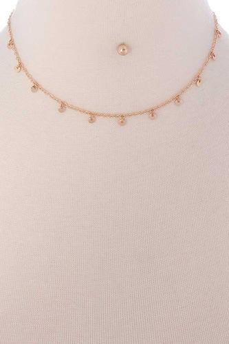 Metal Mini Round Dangle Necklace Earring Set