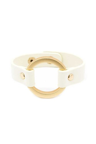 Faux Leather Round Ring Bracelet
