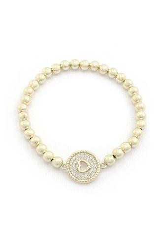 Heart Rhinestone Beaded Bracelet