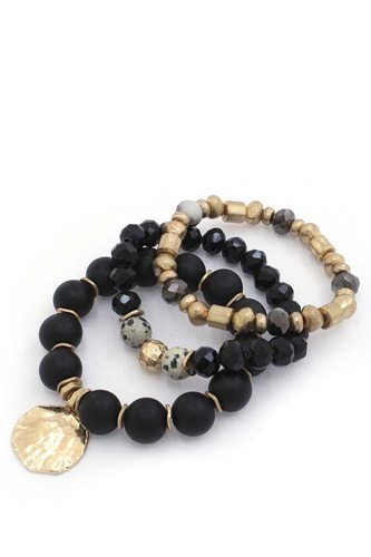 Coin Beaded Stackable Bracelet Set