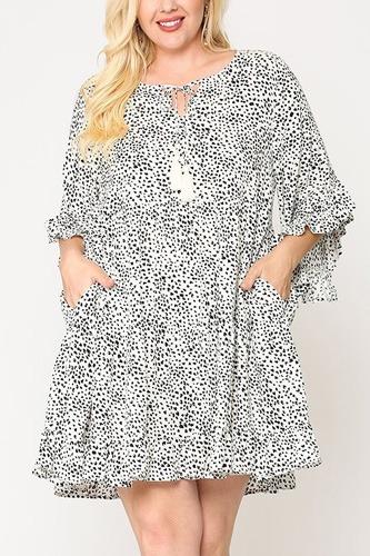 Dot Print Tiered Ruffle Sleeve Dress With Pockets