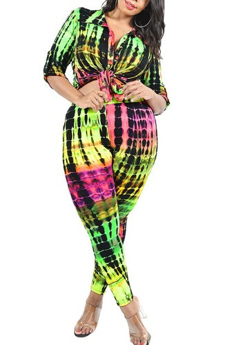 Plus Neon Tie-dye 2 Piece Legging Set