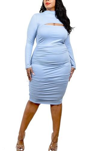 Plus Solid Mock Neck Top 2 Piece Dress Set