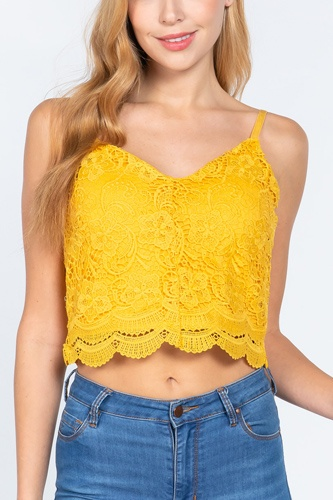 Crochet Lace Cami Woven Top