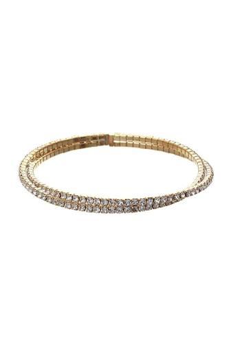 Paved Lined Rhinestone Cuff Bracelet