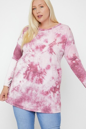 Tie Dye Tunic Featuring A Round Neck Top
