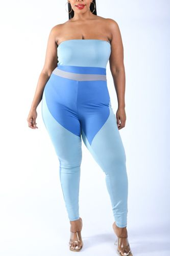 Color Blocked Tube Jumpsuit