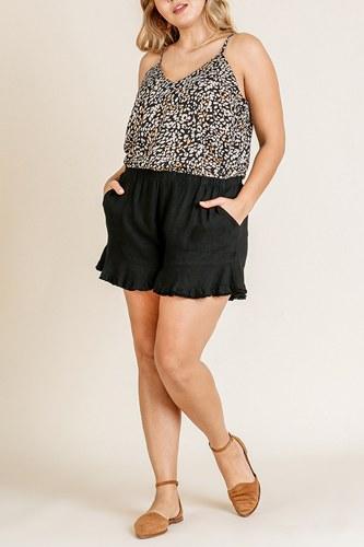 Linen Blend Elastic Waist Ruffle Hem Shorts With Pockets