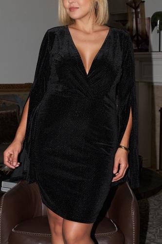 Plus Size Black Glitter Strands Velvet Plunging Wrap V-neck Split Flared Long Sleeve Detail Mini Dress