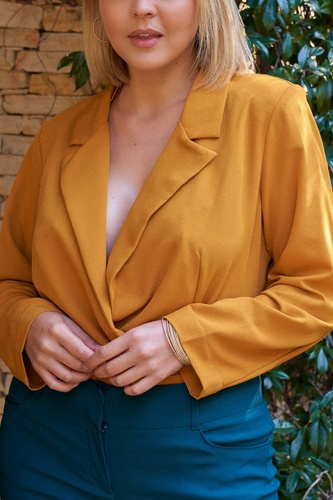 Plus Golden-haze Long Sleeve Plunge Neck Wrap Blazer Bodysuit