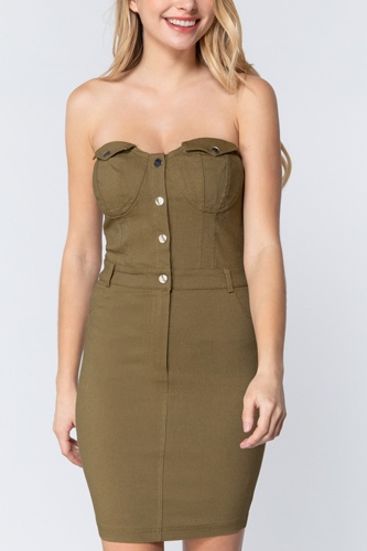 Strapless Button Down Mini Dress