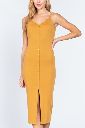 Fron Button Slit Rib Cami Midi Dress