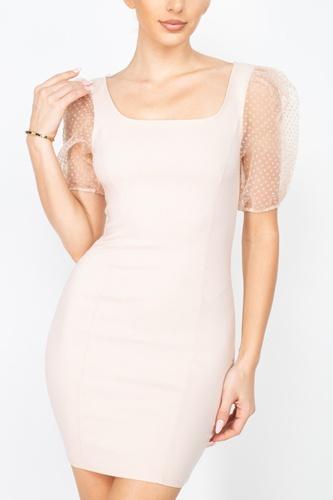 Sheer Puff Sleeves Mini Dress