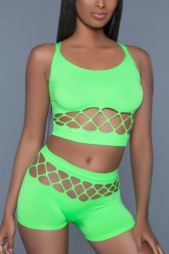 2 pc silk fishnet set that includes a tank crop top with criss-cross cami straps and a pair of high waisted booty shorts.