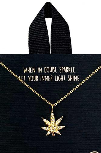 18k Gold Rhodium Dipped Rhinestone Marijuana Necklace