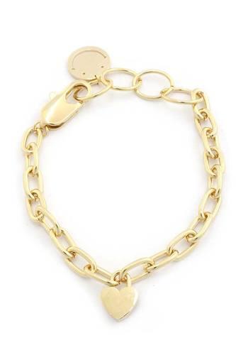 Sodajo Heart Charm Oval Link Bracelet