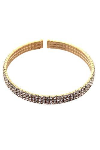 3 Line Rhinestone Flexible Bracelet