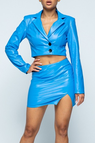 Tight Stretch Pu Fabric Jaket With Black Button Detail / High-waist Side Slit Detail Skirt