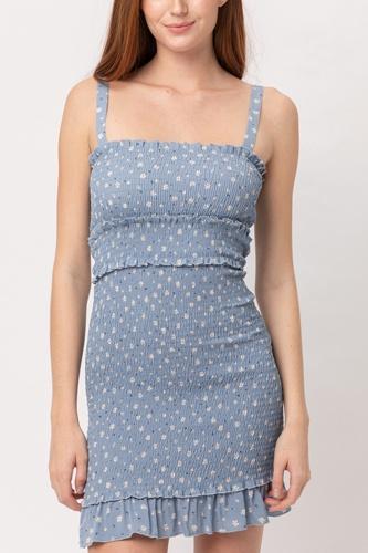 Woven Printed Smocking Dress