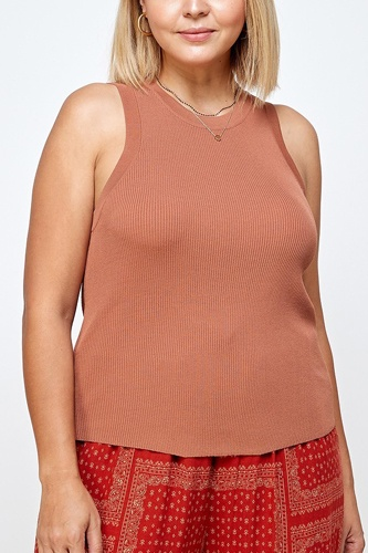 Solid Ribbed Tank With Round Neckline And Shirt Tail Hem