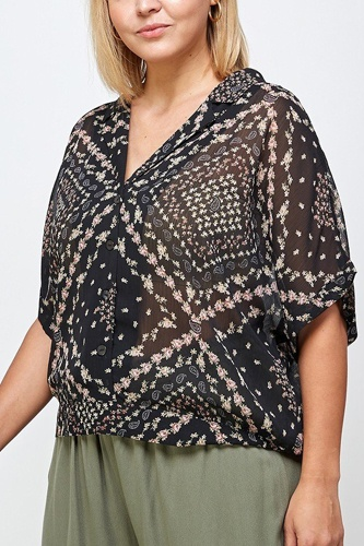 Floral Scarf Printed Button-up Blouse