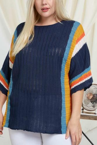 Stripe Accent Ribbeb Knit Sweater