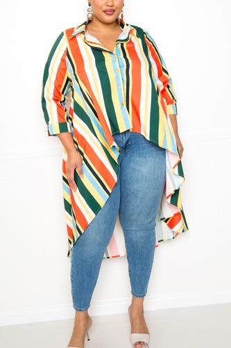 Striped Hi Low Shirt