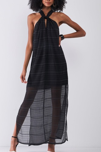 Black Stripped Chiffon Sleeveless Criss-cross Halter Neck Maxi Dress