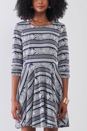 Navy & White Multi Print Round Neck 3/4 Sleeve A-line Mini Dress