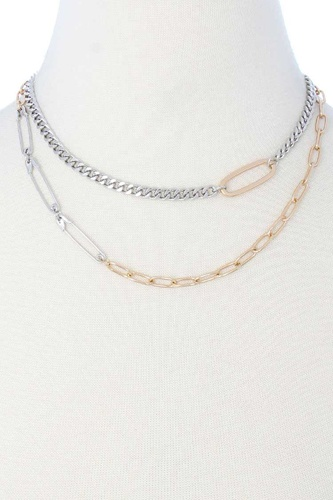 2 Layered Metal Clothing Pin Chain Multi Necklace