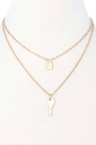 2 Layered Metal Lock And Key Pendant Necklace