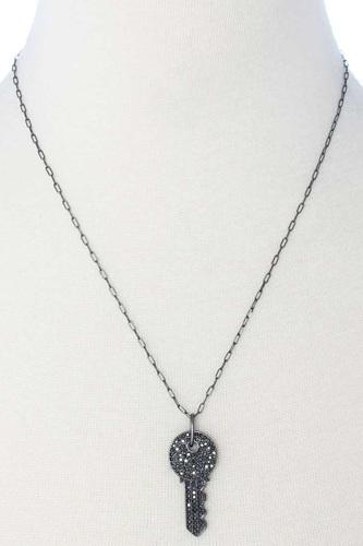 Rhinestone Key Pendant Long Necklace