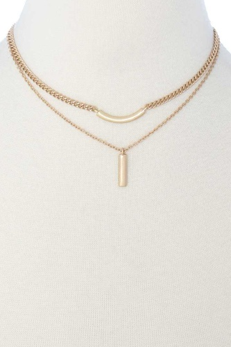 2 Layered Metal Pendant Necklace